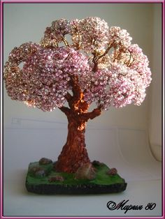 """Бонсай """"Розовый туман"""" или лето с розовыми пальцами...   biser.info - всё о бисере и бисерном творчестве"""