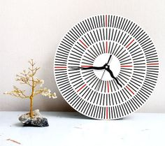 wall clock modern gray geometric decor round by ArtisEverything, $49.00