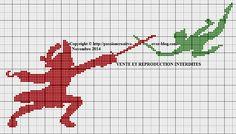 Grille gratuite point de croix : Peter Pan et Capitaine Crochet - Le blog de Isabelle