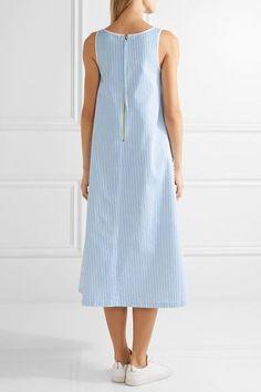 Mira Mikati - Bird Of Paradise Appliquéd Striped Cotton-twill Midi Dress - Light blue - FR36