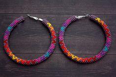 Purple Native American Beaded Hoop Earrings by eleumne on Etsy