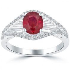 2.04 Carat Genuine Ruby & White Diamond Cocktail Fashion Ring 18k White Gold - Cocktail Rings - Rings