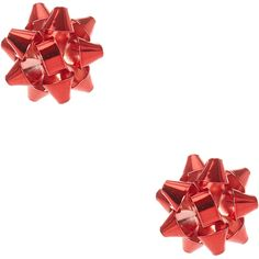 Foiled Red Christmas Bow Stud Earrings (195 CZK) ❤ liked on Polyvore featuring jewelry, earrings, accessories, christmas, red jewellery, christmas bow earrings, bow jewelry, red stud earrings and red jewelry