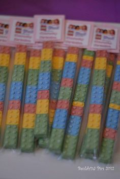 Lego Party Favors @Janet Craven-Calhoun do you remember where we can order the plastic tubes???