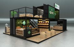 Grace booth 2017 on Behance Cafe Shop Design, Kiosk Design, Cafe Interior Design, Shipping Container Cafe, Container House Plans, Container Coffee Shop, Casas Containers, Container Architecture, Modern House Design