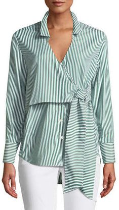Bardot Wrap Tie Button-Down Poplin Shirt Bardot Wrap Tie Button-Down Popeline Shirt Modest Dresses, Modest Outfits, Casual Outfits, Blouse Styles, Blouse Designs, Shirt Blouses, Shirts, Trendy Swimwear, Mode Hijab