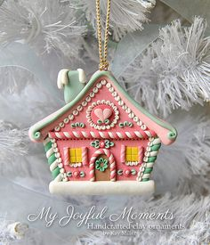 Handcrafted Polymer Clay Gingerbread House Ornament by Kay Miller at Etsy