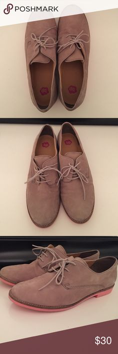 BP Oxfords size 10. Grey Suede with Pink Soles. Only worn a few times!! Perfect for fall 🍂.  Size 10. Fit snug. Cutest pink soles! bp Shoes Flats & Loafers