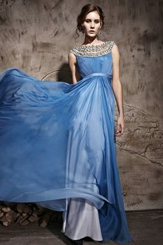 Trendy Design A Line Chiffon Bateau Blue Prom Dresses £145