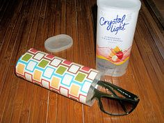 Crystal Light Container to Sunglasses Holder, I'm going to try this. My sun glasses are big. Maybe for the reading glasses