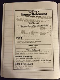 Reader's Notebook Anchor Charts Theme Point of View Elements of a Story Character Traits & Feelings Anchor Charts at your students' fingertips! 6th Grade Reading, Middle School Reading, Middle School English, Reading Notebooks, Interactive Notebooks, Reading Anchor Charts, Theme Anchor Charts, Teaching Writing, Essay Writing