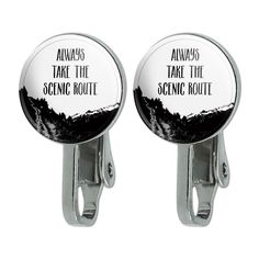 Always Take The Scenic Route Hiking Travel Novelty Clip-On Stud Earrings