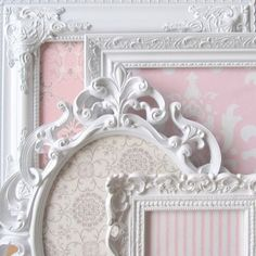 MAGNET BOARDS Shabby Chic Nursery Vintage Shades of Pink, Grey and White Ornate Magnetic Boards on etsy! need this for her room-love antique frames! Shabby Chic Baby, Vintage Shabby Chic, Shabby Chic Homes, Chic Nursery, Vintage Nursery, Girl Nursery, Girl Room, Baby Room, Nursery Ideas