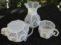 Free Standing Lace (no fabric) Complete Teaset, cup, saucer & teaspoon with tray not shown Tea Set, Bowl Set, Machine Embroidery, Tableware, Lace, Fabric, Tray, 3d, Tejido