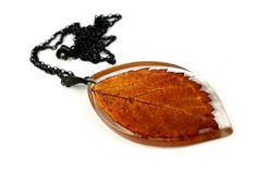 Real Leaf Resin Pendant Brown Autumn Leaf Necklace Natural