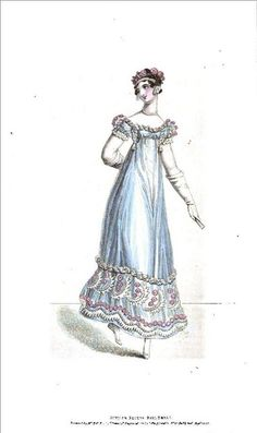 1818 Regency Fashion Plate - Summer Recess Ball Dress (La Belle Assemblee Magazine)