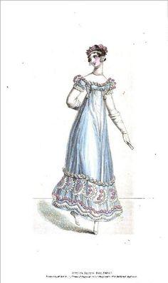 1818 Regency Fashion Plate - Summer Recess Ball Dress (La Belle Assemblee Magazine)
