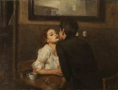 Ron Hicks - Café Kiss. Ron Hicks' works have been characterized as a blend of representational art and impressionism. Some critics have compared them to paintings by Rembrandt and Daumier.