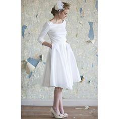 Short+Vintage+Wedding+Dresses | 50's Vintage Short A-line Taffeta Wedding Dress