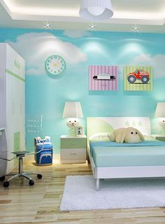 White and light blue decoration, some lovely decorations and background wall plus, let a room such as clear sky. False Ceiling Design, Baby Boy Rooms, Kid Spaces, My Room, Living Room Designs, Interior Design, Interior Sketch, Sweet Home, Bedroom Decor