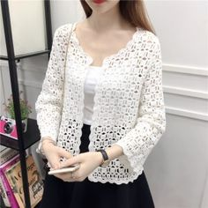 Lace Shirts 2019 Autumn Summer Crochet White Lace Blouse Women Fashion Tops Sexy Hollow Out Knitted Cardigan Chemise Femme Cardigans For Women, Coats For Women, Blouses For Women, White Lace Blouse, Crochet Cardigan Pattern, Knit Cardigan, Spring Shirts, Lace Shorts, Autumn Summer