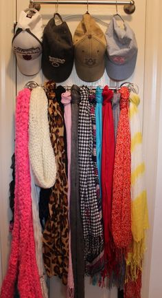 closet organization scarves and hats, back of Tilly's closet door or walk in wardrobe Scarf Curtains, Closet Curtains, Diy Curtains, Closet Bedroom, Closet Space, Closet Doors, Closet Wall, Entry Closet, Scarf Organization