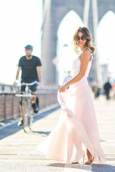 Contrast Color A-line/Princess Sleeveless Long Lace Chiffon Prom Dresses