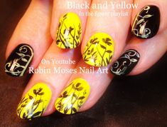 NEW #naildesign up for Wednesday!! #blackandyellow #black #yellow #nails #nailart #nail #art #trendy #diy #howto #design #tutorial #shortnailart #flowers #filigreeNail Art Tutorial | DIY Short Nail Design | Black and Yellow Flower Nails
