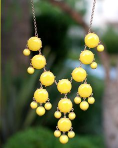 SHIPS TODAY - Yellow Bubble Necklace. $15.00, via Etsy.