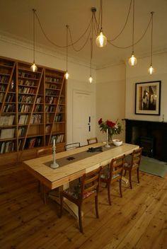 lighting and bookshelves