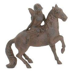 Cast Iron Girl on Horse Garden Statue