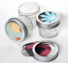 Decorate Mason Jars with scrapbook paper (for this year when I make Jelly again instead of covering the top in fabric)
