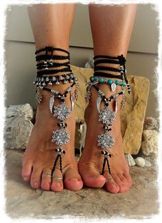 Black Silver BOHEMIAN BAREFOOT WEDDING sandals Goth jewelry Angel Wings Gypsy Sandal Party Crochet foot jewelry Flower Toe anklet GPyoga