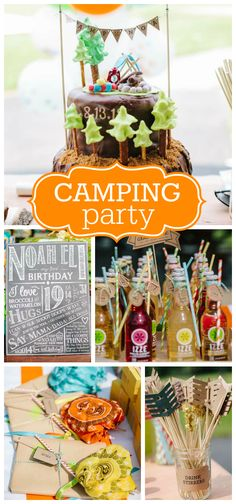 A camping themed first boy birthday party with a chalkboard sign and s'mores party favor kits!  See more party planning ideas at CatchMyParty.com!