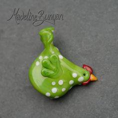 Lana  Sculpted Chicken Lampwork Bead Focal by MadelineBunyan