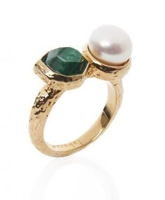 Green And Pearl 18K Gold Plated Brass Goddess Stackable Ring