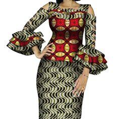 African Print Ruffles Sleeve Tops and Skirt Sets Knee-length clothing – DRESS THE LADIES Couples African Outfits, African Dresses For Women, African Attire, African Wear, African Fashion Dresses, 2 Piece Skirt Set, Mode Simple, Caftan Dress, Ruffle Sleeve