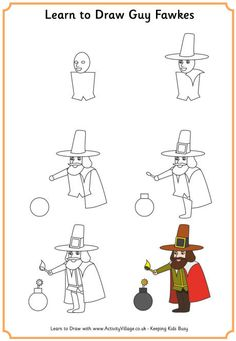 Learn to draw Guy Fawkes