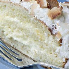 A very yummy recipe for coconut Creamy frosting on a yummy vanilla cake.