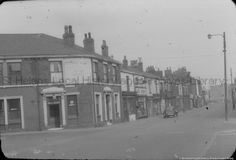 Black and white photographic transparency showing Liverpool Road, St. St Helens Town, Saint Helens, Family Album, The Old Days, Family History, Liverpool, Old Things, Street View, Black And White