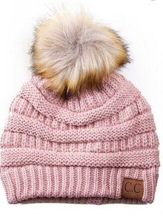 bd091b26a15c55 Fur Pom Pom Beanie Hats Pom Pom Beanies, Baby Pom Pom Hat, Pink Beanies