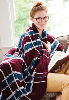 The Lit Major: Plaid Crochet Blanket | crochet today--free pattern--would be a great gift done in school colors for the high school or college student!