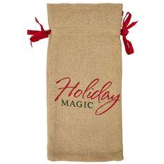 "Burlap Natural Christmas Wine Bag Holiday Magic 13"" x 6.5"""