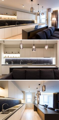 Hidden lighting underneath the upper cabinets and the exposed shelving, help to keep this modern kitchen bright. #KitchenDesign #ModernKitchen #KitchenLighting
