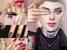 Satin matte nails in 50 colors. Found in TSR Category 'Sims 4 Female Rings'