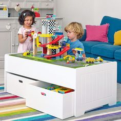 Idea for play table with storage Playroom Furniture, Kids Furniture, Playroom Ideas, Underbed Storage Drawers, Toy Storage, Storage Units, Conservatory Playroom, Toddler Chair, Home Daycare