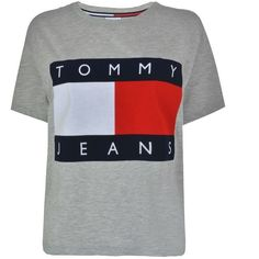 Tommy Jeans Flock T Shirt ($46) ❤ liked on Polyvore featuring tops, t-shirts, t shirt, grey marl, grey top, crew-neck tee, tommy hilfiger t shirt, short sleeve tee and crew neck tee