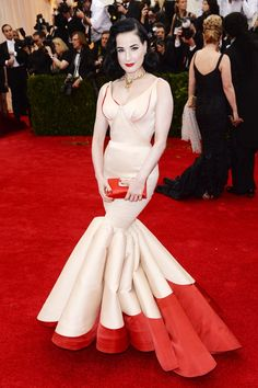 Met Ball 2014: Dita von Teese wore a Zac Posen gown and carried a clutch by Roger Vivier.