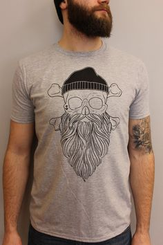 Forever Bearded Skull With Beard Grey T-Shirt by BeardedBabes