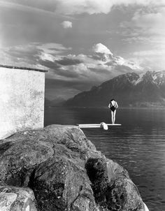 crashinglybeautiful:By Christian Coigny, courtesy of le clown lyrique. Christian Coigny, Le Clown, Diving Board, Trampolines, Black N White Images, Black And White Photography, Art Photography, Magical Photography, Summer Photography
